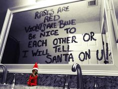 Elf leaves a NOTE!!!! #TELLSANTA ON YOU!!!!