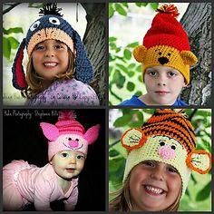 Slouchy Animal Hats pattern by Heidi Yates