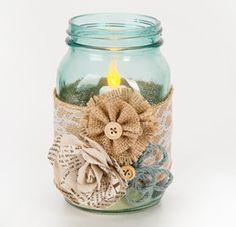 Burlap Wrapped Mason Jar Luminary