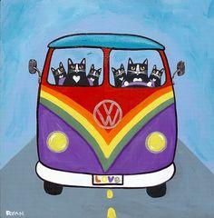 Rainbow Love Bus (full of cats)