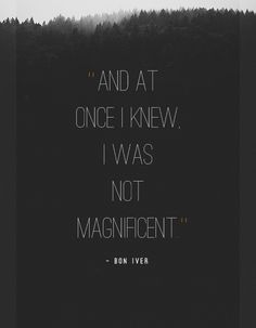 I was not magnificent