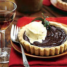 Chocolate Custard Tartlets in Almond Cookie Crust with Saffron Ice Cream
