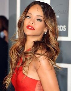 Rihanna Beautiful Hairstyle Long Loose Wave Lace Front 100% Human Hair Wigs 24 Inches: wigsbuy.com