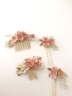Blush Bridal hair comb headpiece pearl hair comb от amuandpri