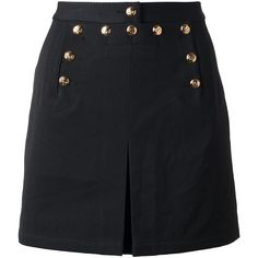 MCQ BY ALEXANDER MCQUEEN button mini skirt (29790 RSD) ❤ liked on Polyvore featuring skirts, mini skirts, mcq by alexander mcqueen, button up front skirt, short slit skirt and straight skirt