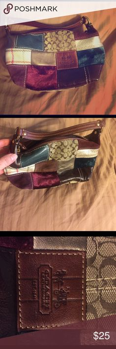 COACH handbag Small Multi- colored block Authentic COACH clutch.  EUC.  Barely used.  Very cute! Coach Bags Clutches & Wristlets