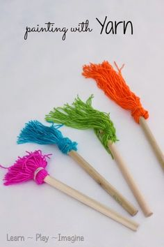 Homemade paint brushes made from yarn - easy art projects for kids