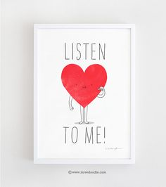 Listen to your heart  art print by ilovedoodle on Etsy