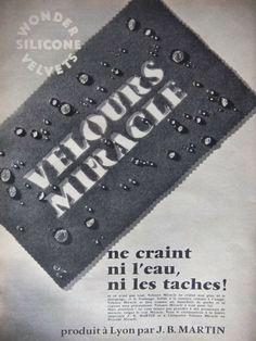 PUBLICITÉ VELOURS MIRACLE NE CRAINT NI L'EAU A LYON J.B.MARTIN - ADVERTISING | eBay