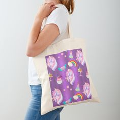 'Cute Pink Unicorn Party on Purple' Tote Bag by GraphicAllusion Printed Tote Bags, Cotton Tote Bags, Reusable Tote Bags, Unicorn Birthday Parties, Unicorn Party, Pink Cake Pops, Unicorn Foods, Purple Unicorn, Unicorn Pattern
