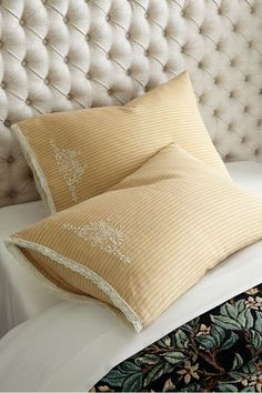 Find great discount home decor at our great home decor outlet. Soft Surroundings Outlet has all discount decor for the home--bedding, lamps, rugs, etc. Discount Home Decor, Home Decor Outlet, Couch Pillow Covers, Bed Pillows, Cushions, Personalized Pillow Cases, Embroidered Pillowcases, Ticking Stripe, Slipcovers For Chairs