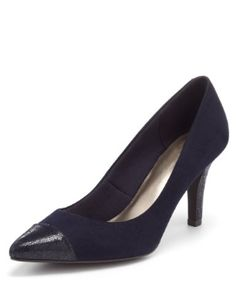 Navy Pointed Toe Heels