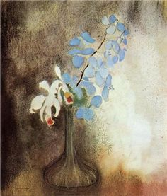 Orchids by Symbolist Odilon Redon, completed Subtle and rather poignant Art Floral, Beautiful Flower Drawings, Orchids Painting, Odilon Redon, Post Impressionism, Henri Matisse, Oeuvre D'art, Les Oeuvres, Flower Art