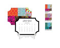 2016 Desk Calendar / Custom Calendar / Calendar with Stand / Bookplate Shape Calendar / 2017 Calendar / Monogrammed Calendar Boho Pattern by DetailsandPaper on Etsy