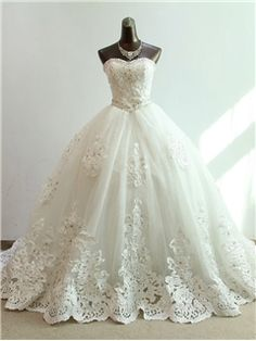 $ 161.99 Gorgeous Ball Gown Sweetheart Beading Appliques Chapel Charming Wedding Dress