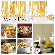 Pasta Bar PARTY-What a great idea for entertaining friends and family. Pasta Bar Party, Party Food Bars, Party Food And Drinks, Party Snacks, Italian Dishes, Italian Recipes, Wedding Reception Food, Party Finger Foods, Birthday Dinners