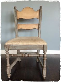 Unique Wooden Chair w/Fabric Seat
