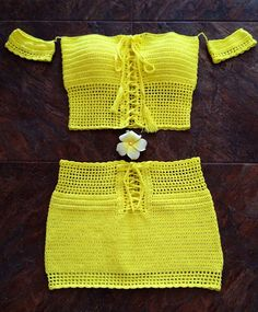 Yello summer beach dress, consists of top and short skirt. Crocheted from 100% cotton. Handmade wash only! Size S/M but fits Xs/S.