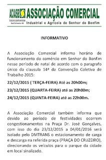 NONATO NOTÍCIAS: BONFIM:  HORÁRIO DE FUNCIONAMENTO NO COMÉRCIO DE B...