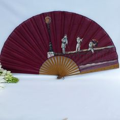 Antique Hand Fan Styles | ... -carved-wooden-sticks-hand-painted-fabric-leaf-vintage-hand-fan.jpg