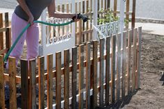 Last weekend we finally completed the pallet picket fence project we'd been intending to complete for the past couple of months. If you remember, I gave you a sneak peak of what the finished side yard will look like