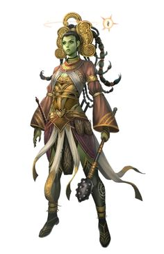 Female Half-Orc Oracle - Pathfinder PFRPG DND D&D 3.5 5th ed d20 fantasy