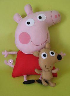 @Peppa Pig e il suo orsetto@personaggi delle favole@feltro@pannolenci