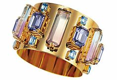 Oceana Swarovski crystal and resin cuff bracelet.  House of Lavande was established in Palm Beach, Florida in 2006 by jewelry connoisseur Tracy Smith. The expertly curated collection of over 10,000 pieces contains such distinguished designers as Elsa Schiaparelli, Schreiner, Yves Saint Laurent, Christian Dior, Givenchy, Lanvin and Chanel