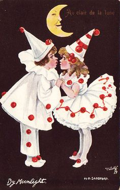 Greeting card of a pierrot and pierrette.