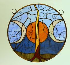 Harvest Moon Tree of Life Stained Glass Window Art by Glassquirks, Vancouver Island Etsy Team Member