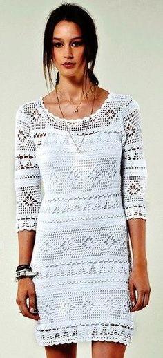 Белое платье филейной вязки