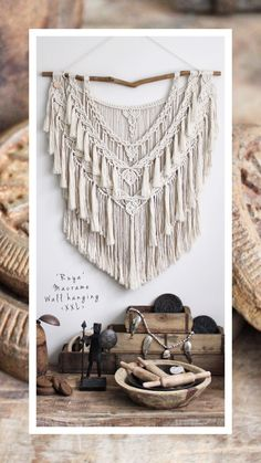 Unique macrame wall hanging shelf for your cozy home Macrame Wall Hanging Patterns, Large Macrame Wall Hanging, Macrame Patterns, Macrame Design, Macrame Art, Macrame Projects, Diy Crafts To Do, Diy Craft Projects, Geometric Decor
