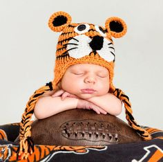 Check out Cincinnati Bengals Football Tiger Hat for newborn baby boy or girl - premie sizes available on photopropsnmore