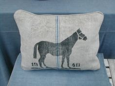 pillow made from a vintage German grain sack