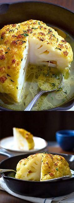 Whole Roasted Cauliflower With Butter Sauce Healthy Recipes - food, healthy, recipes