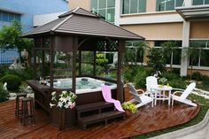 "Hot tub gazebo - for those of us with more ""changeable"" weather!"