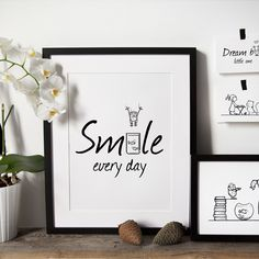 Happiness Collection / Smile Every Day - Scandinavian nursery, baby room, Nursery wall art, Black and white prints