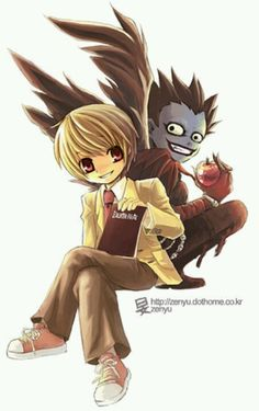 Light & Ryuk. Let's be honest. Doesn't anyone else think that Ryuk as a kid is probably the weirdest cute u could think of?