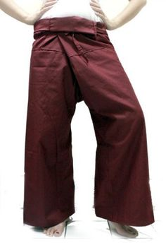 Thai Fisherman Wrap Pants Trousers Yoga Massage Pregnancy Pants 100% Light Cotton Free Size - Drak Red by Thai Fisherman pants. $15.45. Thai Fisherman Pants have a very wide waist with a belt that ties from the rear. Simply step into the pants, pull the waist out to one side wrap the extra fabric around to the front and tie the belt. Length can be adjusted by folding over the top of the pants!