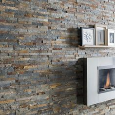Amazing Magrit multicolored natural stone wall cladding - Best Decoration ideas for the home Stone Fireplace Wall, Diy Fireplace, Wall Cladding Panels, Natural Stone Wall, Wooden Wall Panels, Home Decor Baskets, Stone Bathroom, Salons, Leroy Merlin