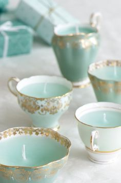 Use vintage cups to make candles with this tutorial.   AND 45 BEST Spring Party & Decor Tutorials EVER with their LINKS!!! GIFT, PARTY, EVENT, SPRING, WEDDING DECOR. Blog & Photos from MrsPollyRogers.com