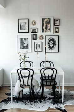 Gallery wall with black bentwood chairs via Fashion Squad