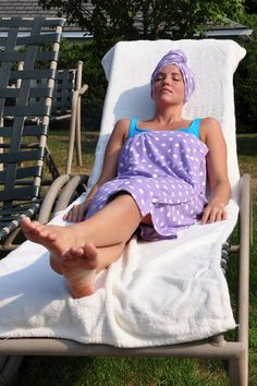 Use a Turbie Towel and Wrap while lying poolside.
