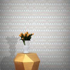 Sigtuna Wallpaper by Ginette Guiver Soft Colors, Colours, Relaxing Colors, Retro Wallpaper, Cream White, Elle Decor, Designer Wallpaper, Scandinavian Design, Geometric Shapes