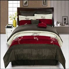 Amazon.com: Portland Burgundy Queen size Luxury 8 piece Comforter set includes Comforter, Skirt, Throw Pillows, Pillow, Shams by Royal Hotel: Home & Kitchen   Less expensive