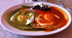 Huevos divorciados, or divorced eggs, is a Mexican breakfast featuring two fried eggs separated by a column of chilaquiles (although sometimes, refried beans with tortilla chips are substituted) or served on a crisp fried tortilla. Typically, one egg is covered in salsa roja or salsa asada, while the other is covered in salsa verde, giving them distinct and complementary flavours.