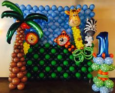 Stage Decoration Photos, Stage Decorations, Balloon Decorations, Birthday Decorations, Balloon Columns, Balloon Wall, Balloon Arch, Balloons, Jungle Theme Parties