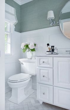 A powder room is just a rather more fancy way of referring to a bathroom or toilet room. Just like in the case of a regular bathroom, the powder room may present different challenges related to its interior design and… Continue Reading → Bad Inspiration, Bathroom Inspiration, Bathroom Ideas, Bathroom Designs, Bathroom Storage, Bathroom Colors, Chevron Bathroom, Mint Bathroom, Chevron Tile