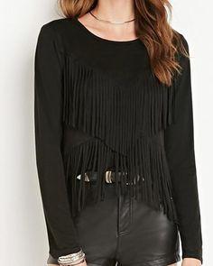 Chic fringe t shirt for women plain black short t shirts long sleeve
