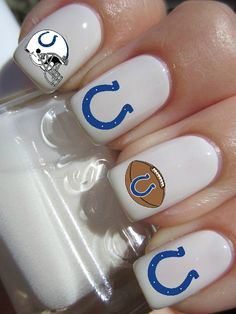 Indianapolis Colts Football Nail Decals by PineGalaxy on Etsy, $4.50